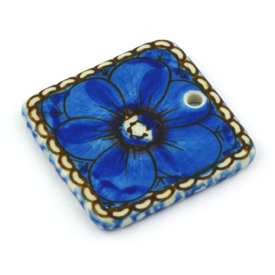"Polish Pottery Square Pendant 2"" Cobalt Poppies UNIKAT"