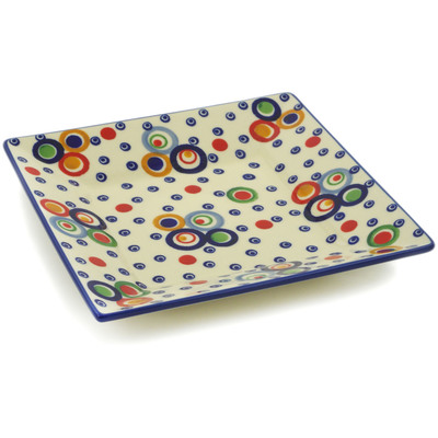 "Polish Pottery Square Plate 10"" UNIKAT"