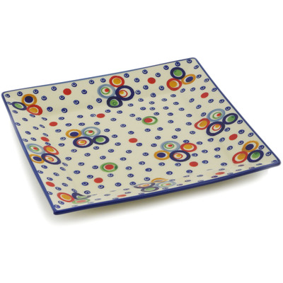 "Polish Pottery Square Plate 13"" UNIKAT"