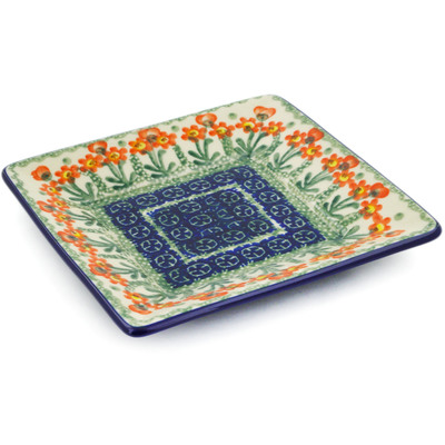 "Polish Pottery Square Plate 6"" Peach Spring Daisy"