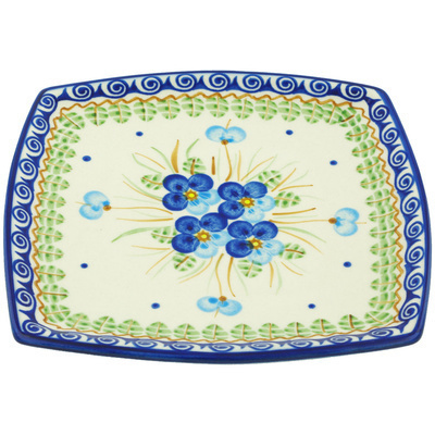 "Polish Pottery Square Plate 7"" Blue Pansy"