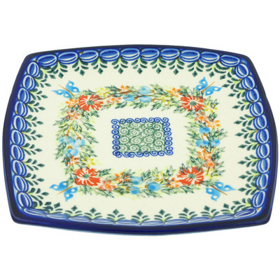"Polish Pottery Square Plate 7"" Ring Of Flowers UNIKAT"