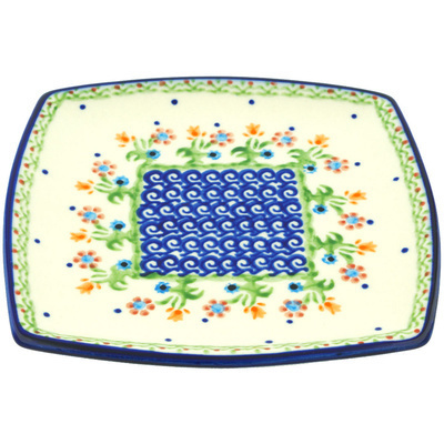 "Polish Pottery Square Plate 7"" Spring Flowers"