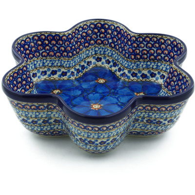 "Polish Pottery Star Shaped Bowl 9"" Cobalt Poppies UNIKAT"