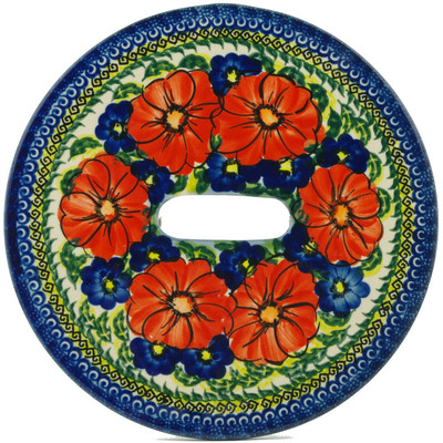 Polish Pottery Stool Insert 9¾-inch Red Star UNIKAT