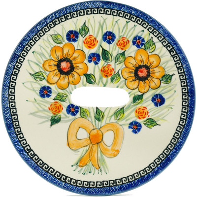Polish Pottery Stool Insert 9¾-inch Yellow Flower UNIKAT