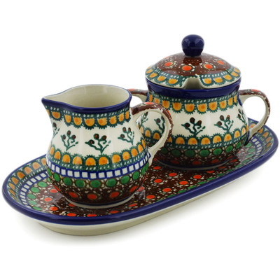 "Polish Pottery Sugar and Creamer Set 10"" Cranberry Medley UNIKAT"