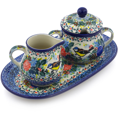 "Polish Pottery Sugar and Creamer Set 10"" Robbin's Meadow UNIKAT"