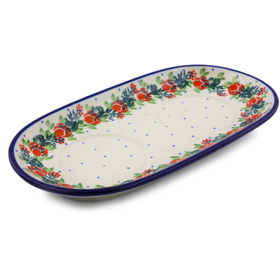 "Polish Pottery Sugar and Creamer Tray 10"" Polish Wreath"