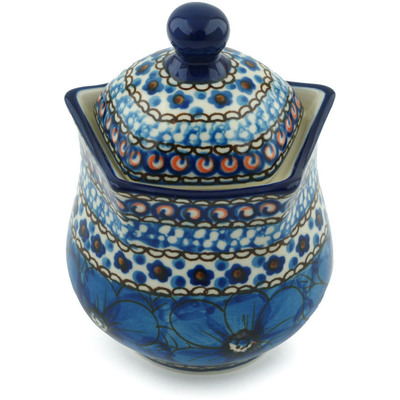 Polish Pottery Sugar Bowl 10 oz Cobalt Poppies UNIKAT