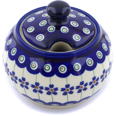 Polish Pottery Sugar Bowl 10 oz Flowering Peacock