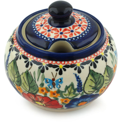 Polish Pottery Sugar Bowl 10 oz Spring Splendor UNIKAT