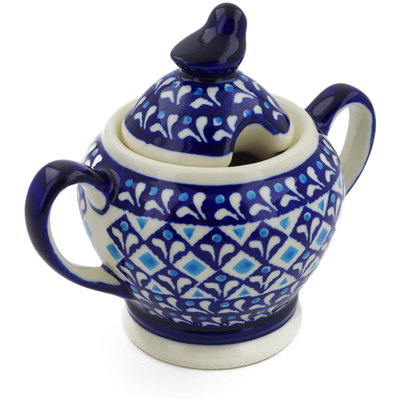 Polish Pottery Sugar Bowl 11 oz Blue Diamond