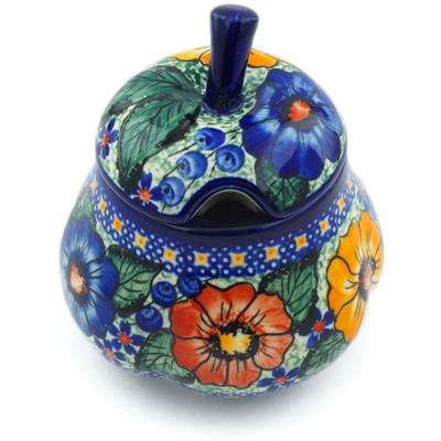 Polish Pottery Sugar Bowl 11 oz Bold Pansy UNIKAT