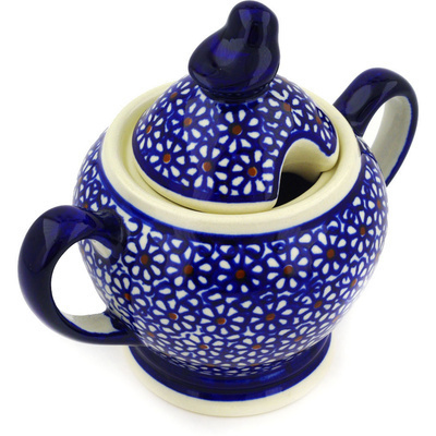 Polish Pottery Sugar Bowl 11 oz Daisy Dreams