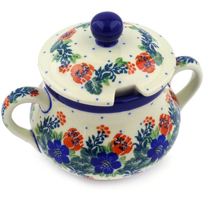 Polish Pottery Sugar Bowl 11 oz Polish Wreath