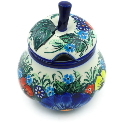 Polish Pottery Sugar Bowl 11 oz Summertime Blues UNIKAT