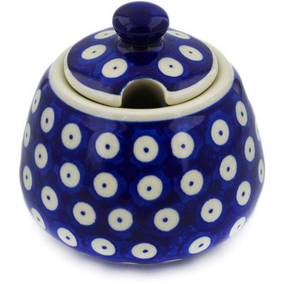 Polish Pottery Sugar Bowl 12 oz Blue Eyed Peacock