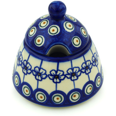 Polish Pottery Sugar Bowl 12 oz Flowering Peacock