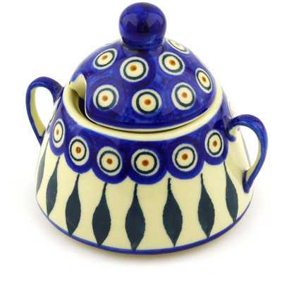 Polish Pottery Sugar Bowl 12 oz Peacock