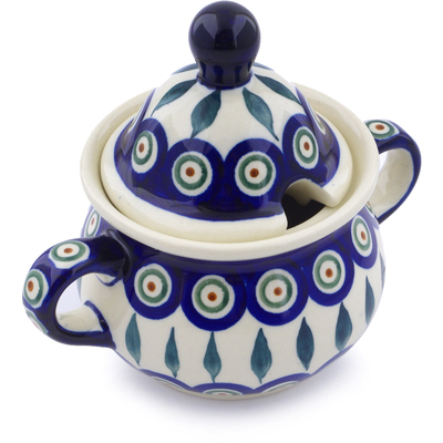 Polish Pottery Sugar Bowl 12 oz Peacock Leaves