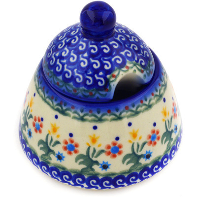 Polish Pottery Sugar Bowl 12 oz Spring Flowers
