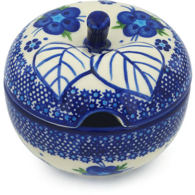 Polish Pottery Sugar Bowl 15 oz Bleu-belle Fleur