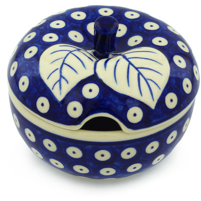 Polish Pottery Sugar Bowl 15 oz Blue Eyed Peacock