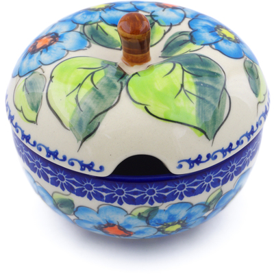 Polish Pottery Sugar Bowl 15 oz Bold Blue Poppies UNIKAT