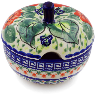 Polish Pottery Sugar Bowl 15 oz Happiness UNIKAT