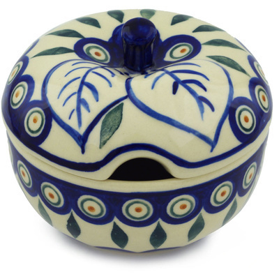 Polish Pottery Sugar Bowl 15 oz Peacock