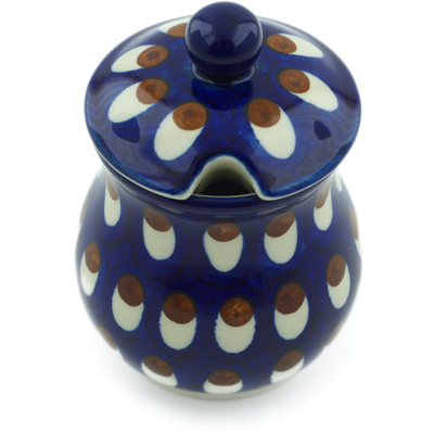 Polish Pottery Sugar Bowl 5 oz American Peacock