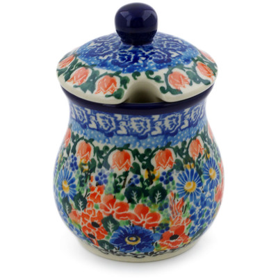 Polish Pottery Sugar Bowl 5 oz Sapphire Rose Garden UNIKAT