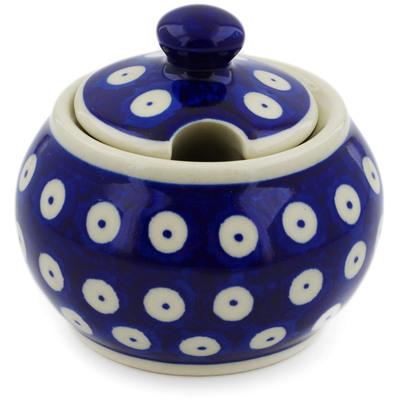 Polish Pottery Sugar Bowl 6 oz Blue Eyed Peacock