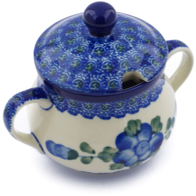 Polish Pottery Sugar Bowl 7 oz Blue Poppies