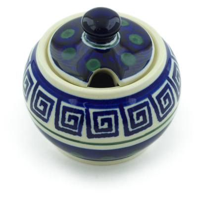 Polish Pottery Sugar Bowl 7 oz Greek Key