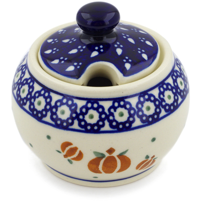 Polish Pottery Sugar Bowl 7 oz Pumpkin Spice