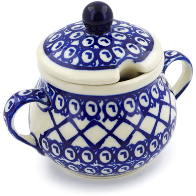 Polish Pottery Sugar Bowl 8 oz Lattice Peacock