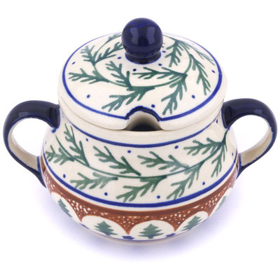 Polish Pottery Sugar Bowl 8 oz Pine Boughs