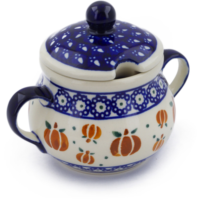 Polish Pottery Sugar Bowl 8 oz Pumpkin Spice