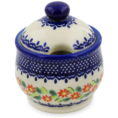 Polish Pottery Sugar Bowl 9 oz Elegant Garland