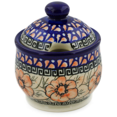 Polish Pottery Sugar Bowl 9 oz Fire Poppies UNIKAT