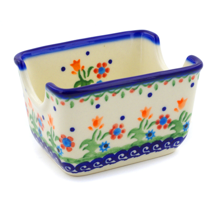 "Polish Pottery Sugar Packet Holder 3"" Spring Flowers"