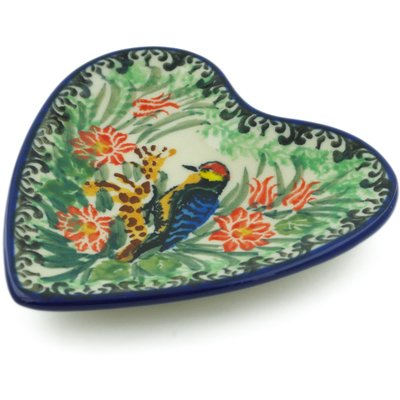 "Polish Pottery Tea Bag or Lemon Plate 3"" Aviary Oasis UNIKAT"