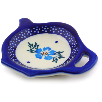 "Polish Pottery Tea Bag or Lemon Plate 4"" Blue Cornflower"