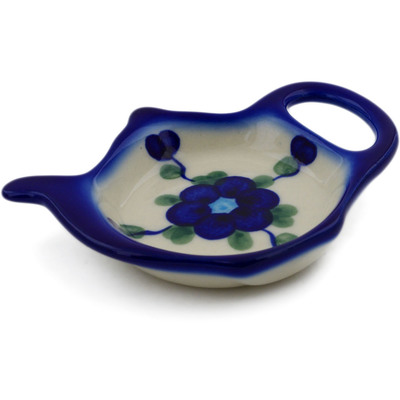 "Polish Pottery Tea Bag or Lemon Plate 4"" Blue Poppies"