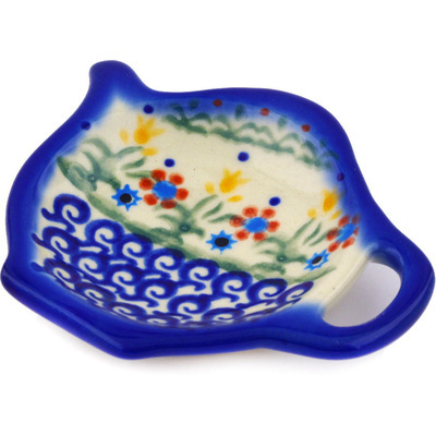 "Polish Pottery Tea Bag or Lemon Plate 4"" Spring Flowers"