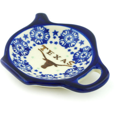 "Polish Pottery Tea Bag or Lemon Plate 4"" Texas State"