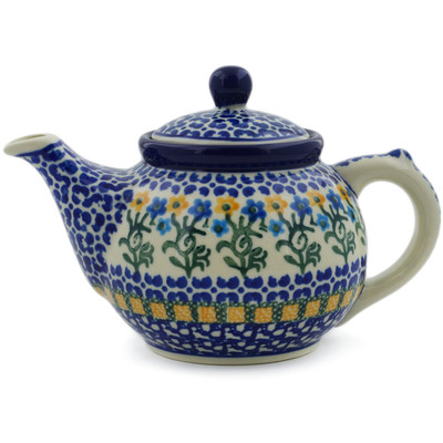 Polish Pottery Tea or Coffee Pot 13 oz Field Of Wildflowers