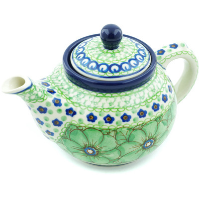 Polish Pottery Tea or Coffee Pot 13 oz Key Lime Dreams UNIKAT